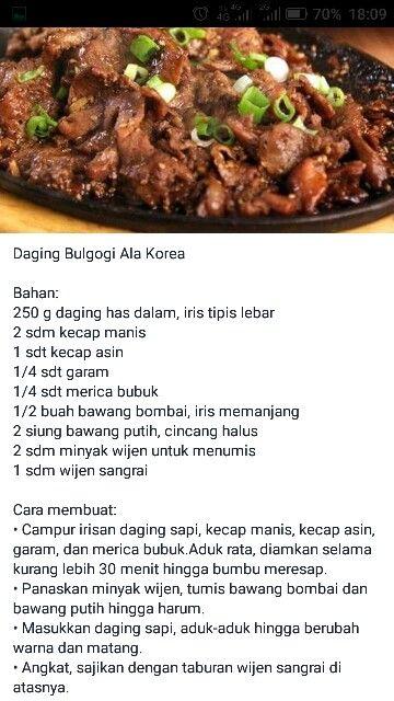 Daging Bulgogi Ala Korea Resep Masakan Korea Masakan Korea Resep Masakan