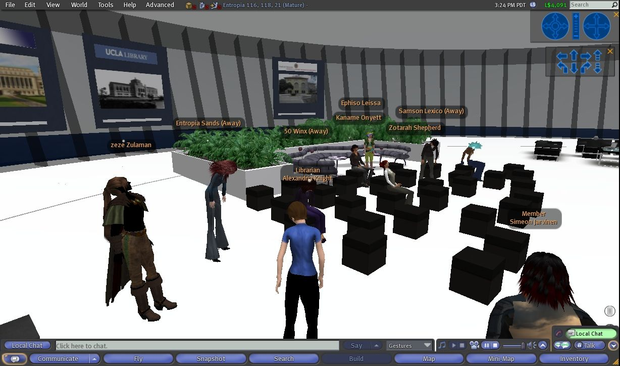 Mellon Seminar on Digital Humanities, F2F at UCLA, simultaneously streamed to Stanford & from there into DLF's Entropia Island - Second Life 1 Jun 2009