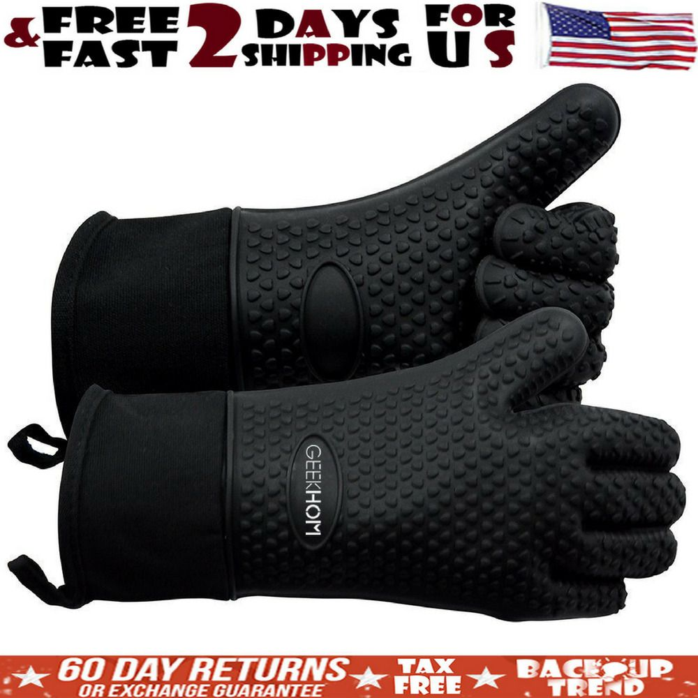 Black Silicone Heat Resistant Grilling Gloves For Kitchen Work