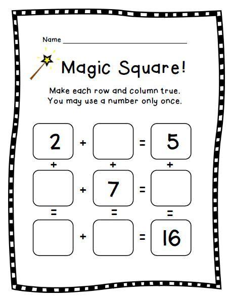 Magic Square Puzzle Bundle: Addition & Subtraction Math Facts: K ...