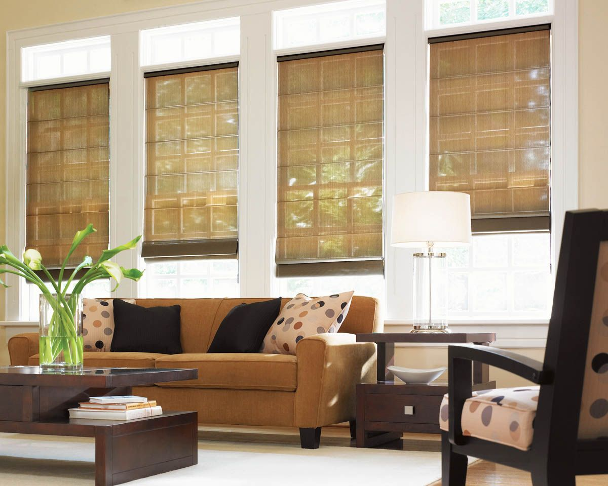 Natural Roman Shades with a perfect amount of openness to enjoy the beauty of nature. -Shades Creation