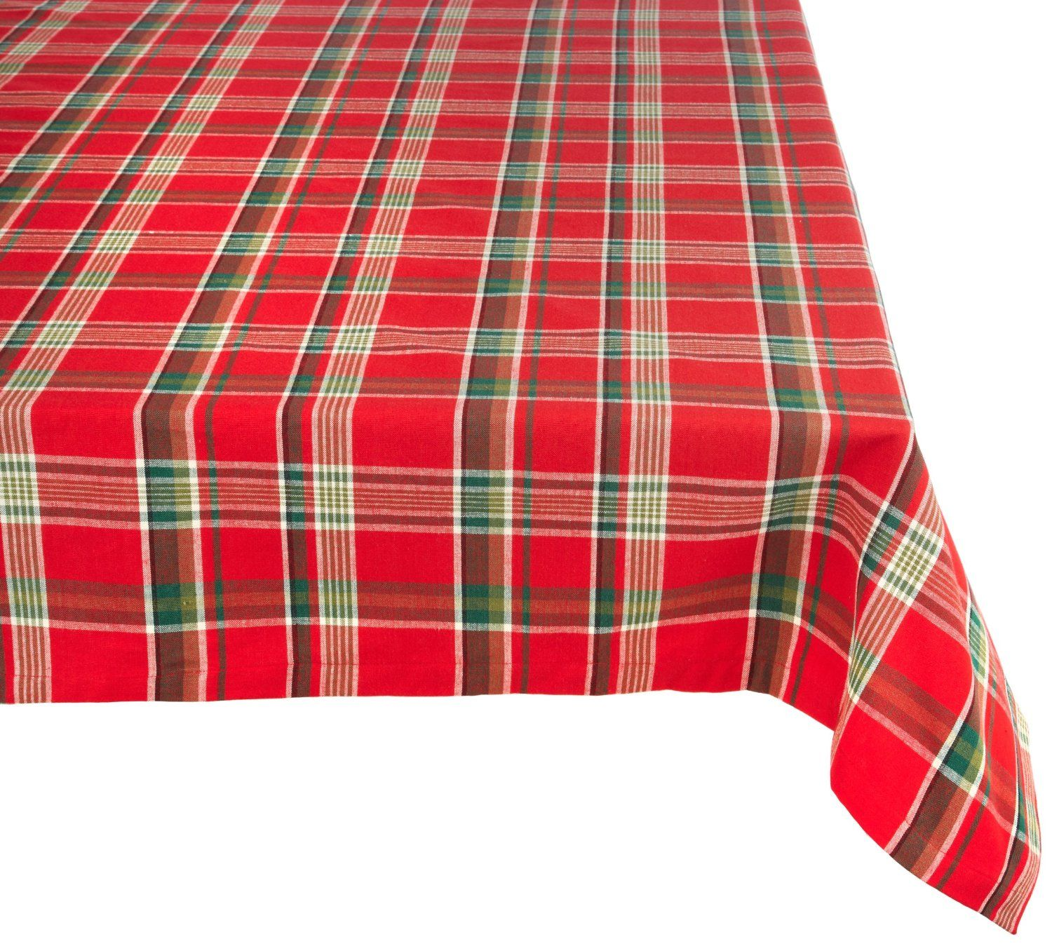 Amazon Com Dii 100 Percent Cotton Fabric Tablecloth 60x84 60x104 60x120 70 Round Tango Red Plaid Seats 6 To Plaid Tablecloth Design Imports Table Cloth