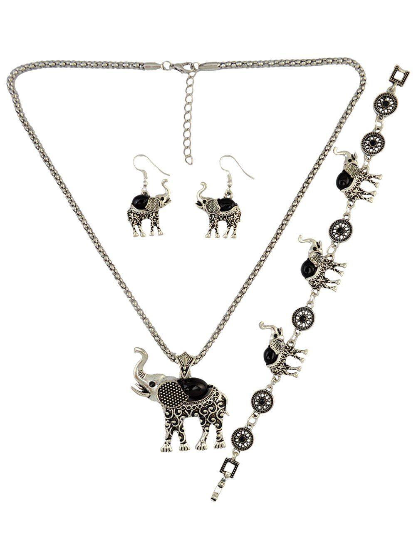 Fake gem elephant necklace set jewelry women men hats
