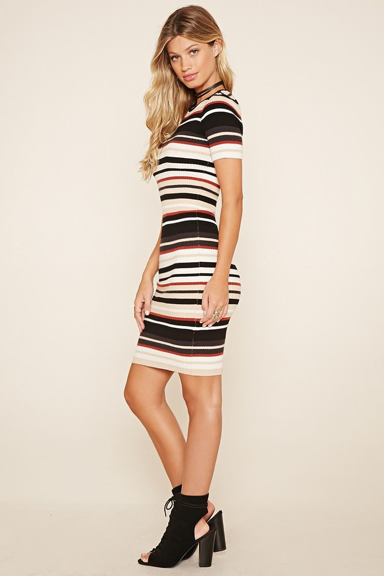 cca2c7fc13c Striped Ribbed Knit Dress