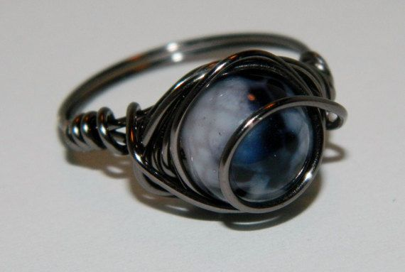 Blue/Purple Wire Wrapped Ring by Hearts&Craftsetc on Etsy