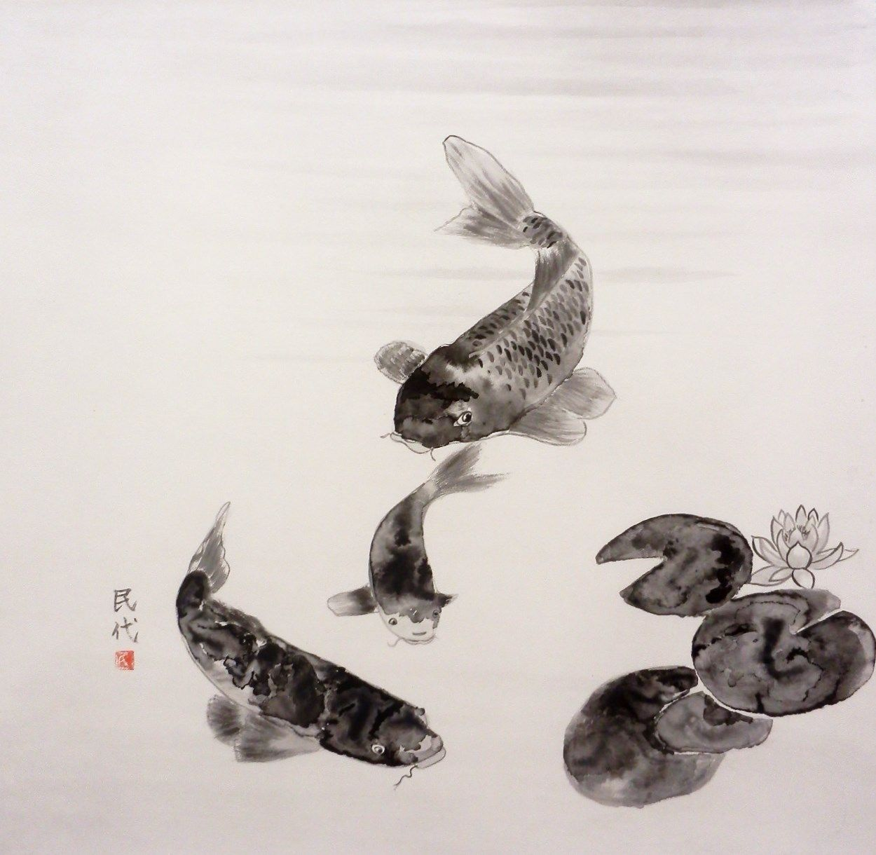 Koi In A Pond In Suibokuga Sumi E