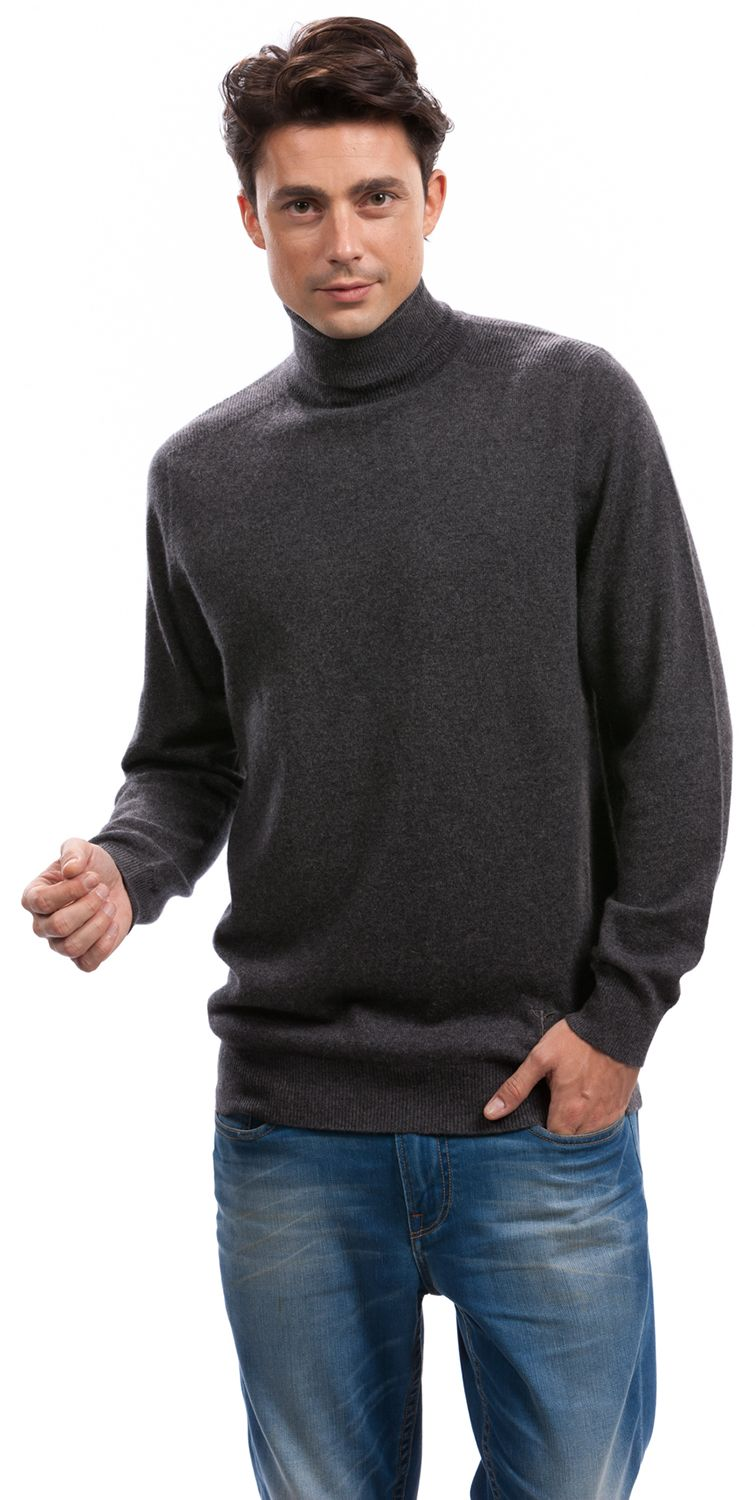 A selection of turtleneck sweaters in dark grey, black, navy, red ...