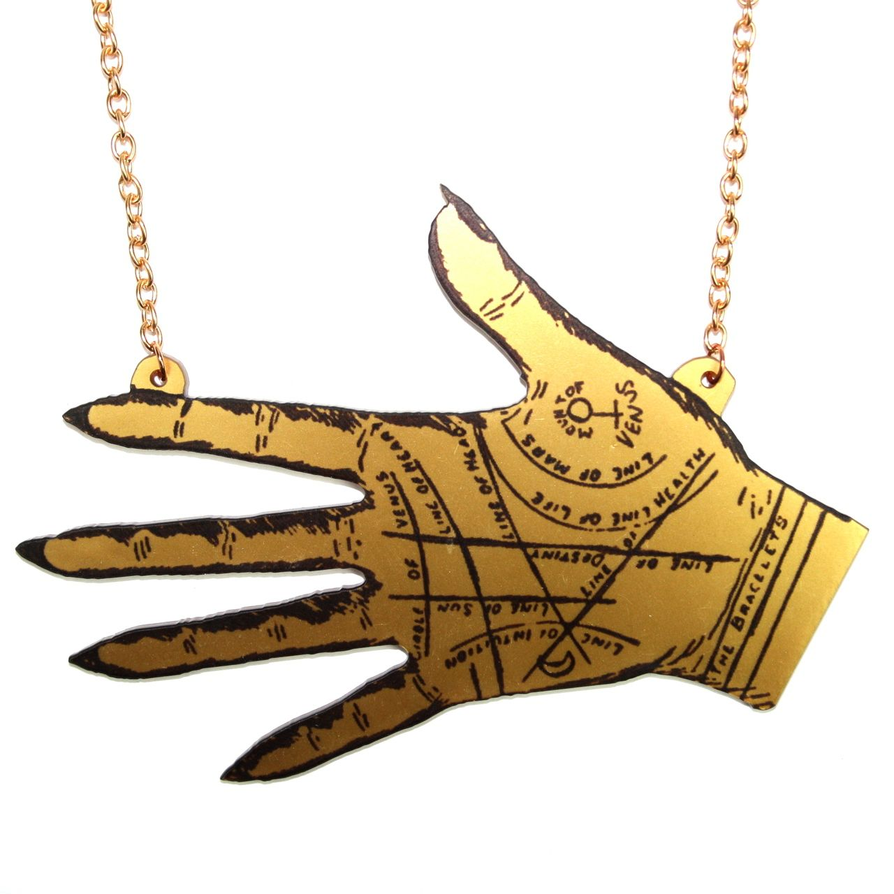 Large Gold Palmistry Hand Necklace - Sour Cherry | Quirky & Kitsch Jewellery & Accessories