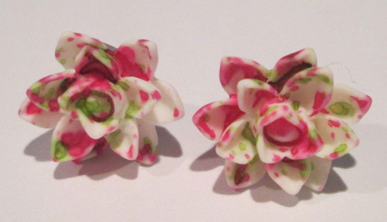 Small pink green white splatter design lotus flower pierced post lotus flower izmirmasajfo