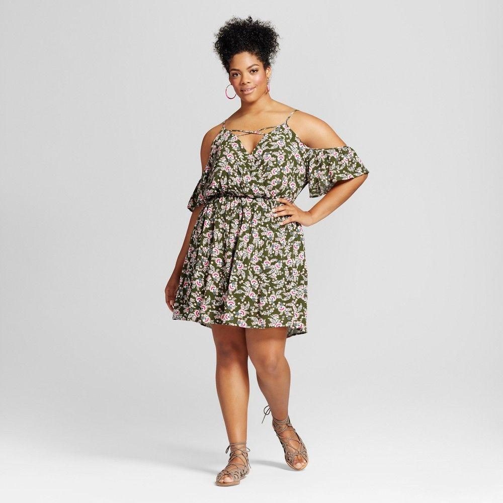 Womenus plus size surplice flutter dress xhilaration olive floral