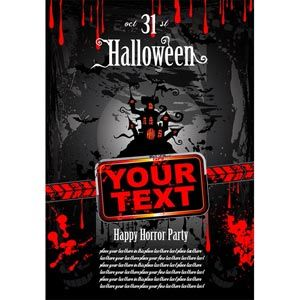 Free Vector horror Halloween Grunge style brochure Flyer title page style with old haunted house Red text space for text bat flying under fu...