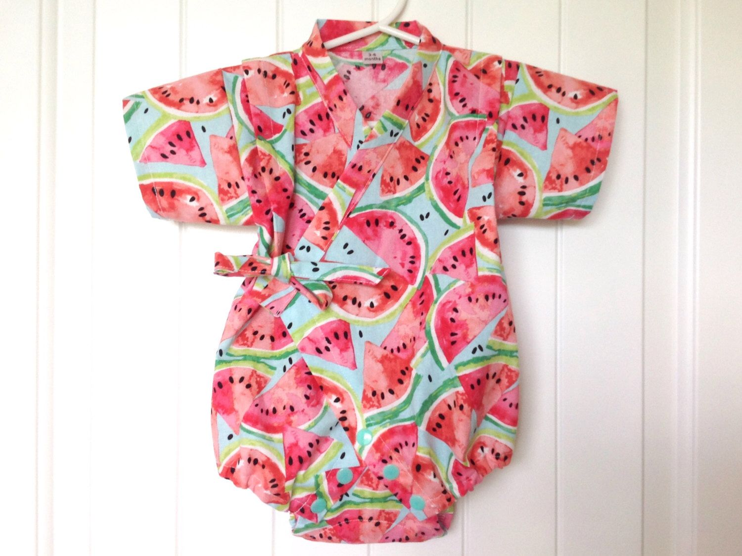 Baby Romper Jinbei Kimono with Headband, Watermelon, water color by ...