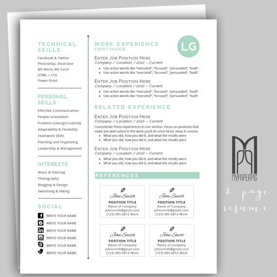 Resume Template and Cover Letter Template by MYPAPERPIG on Etsy - how you do a resume