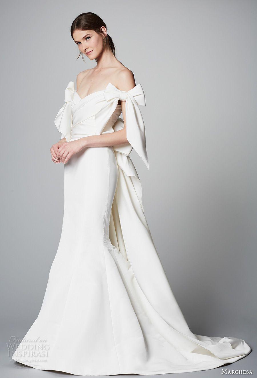 3f152cc5 marchesa spring 2018 bridal off the shoulder v neck wrap over bodice simple  clean elegant chic