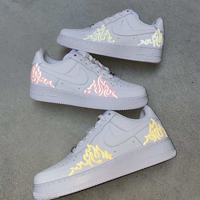 Air-force 1 custom with leather durable transfers and finisher applied best transfers on market guaranteed best price :) please feel free to message me with any questions fastest turn around 1-2 weeks. one picture is an example of the shoe with flash.