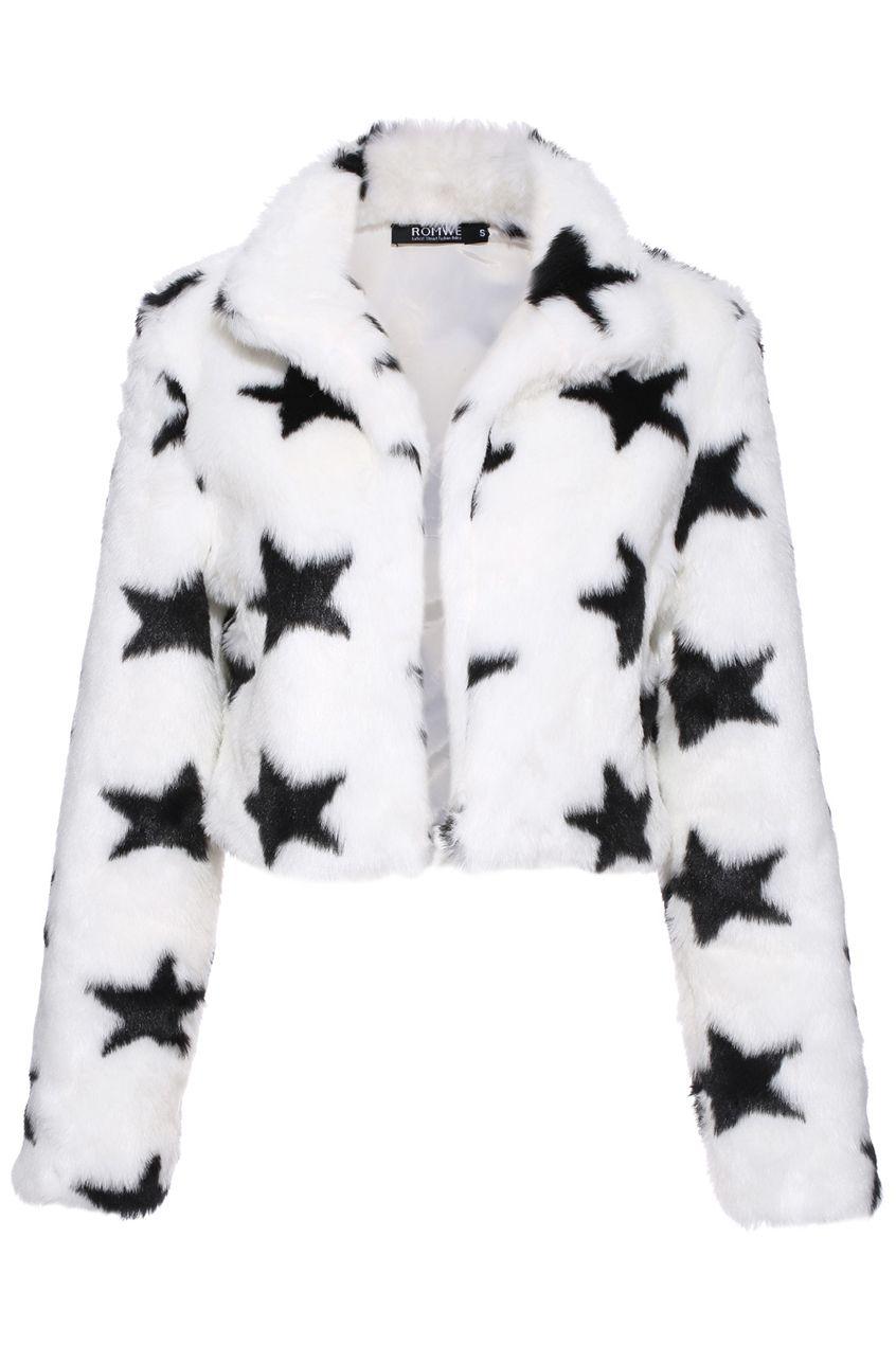 Stylish Star Print Faux Fur Coat Jacket Star Outerwear Fashion Style 49 Cropped Faux Fur Coat Fashion Fur Coat [ 1270 x 846 Pixel ]
