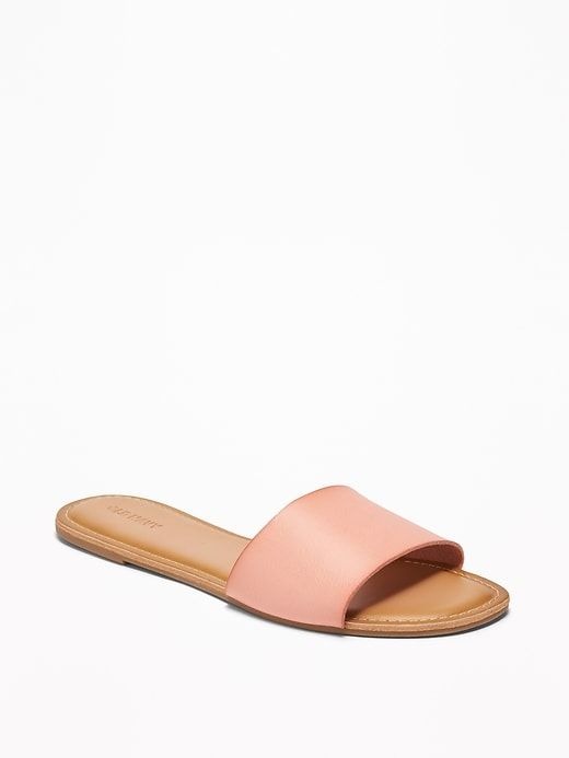 27eaf9bca73f Faux-Leather Slide Sandals for Women in 2019