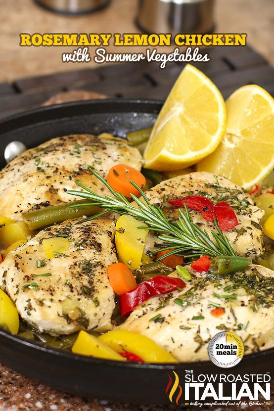 Rosemary Lemon Chicken Skillet with Summer Veggies in just 20 Minutes