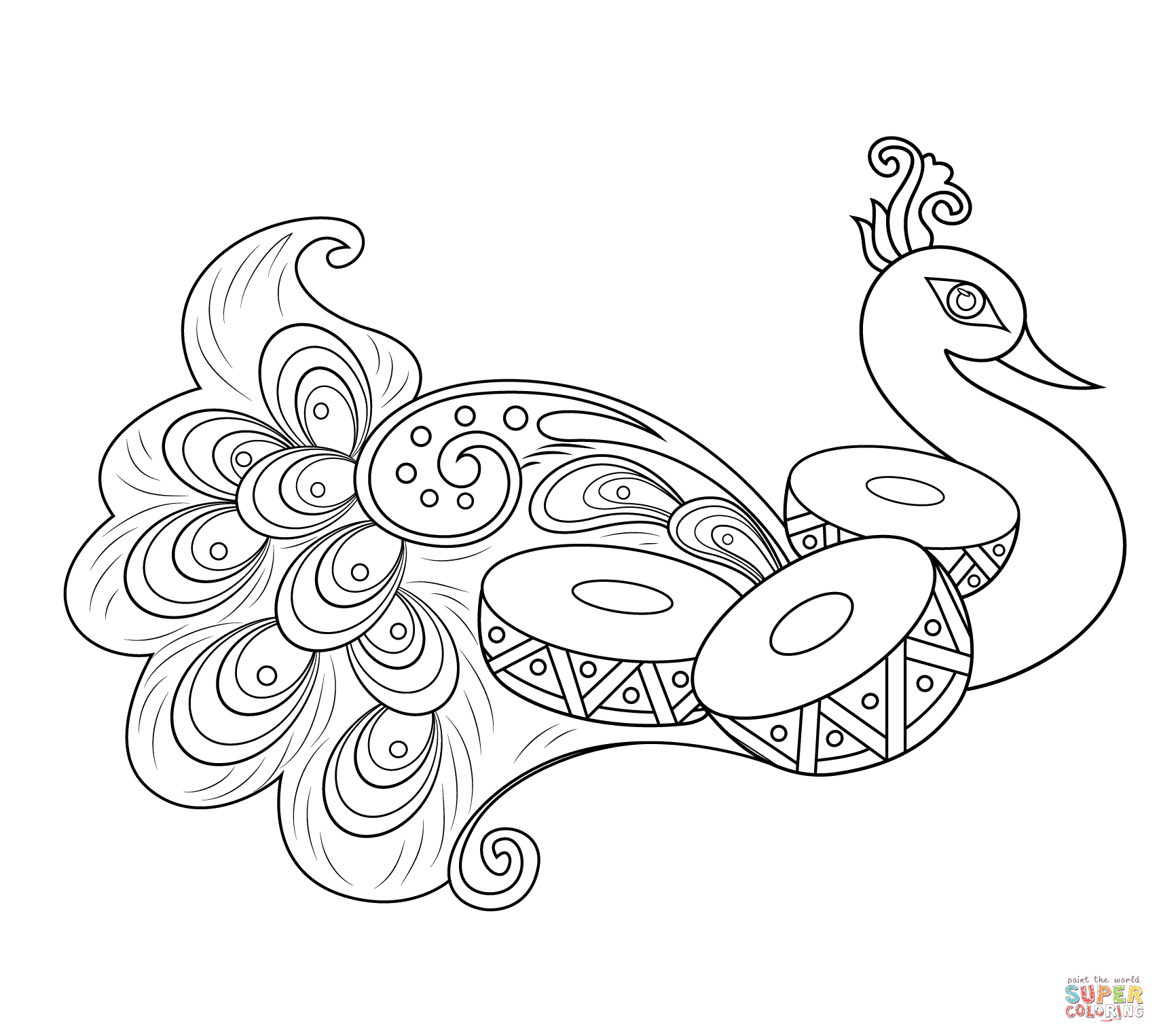 Free coloring pages of peacock feathers coloring everyday printable - Rangoli With Peacock Coloring Page From Rangoli Category Select From 25105 Printable Crafts Of Cartoons Nature Animals Bible And Many More