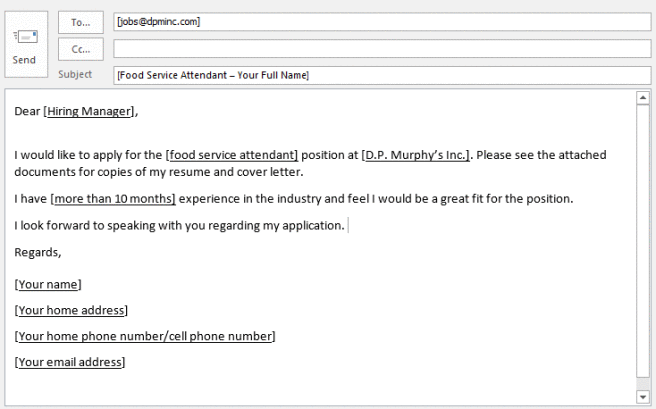 Email To Apply For A Job | template | Job application email