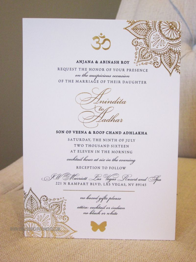 sister wedding invitation card wordings%0A Indian Wedding  Gold Foil  Invitation  Sophisticated  OM Symbol  Mandala   Indian