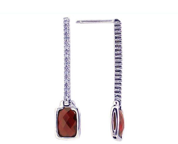 14K White Gold Octagon Checkerboard Garnet Gemstone and Diamond Drop Earrings