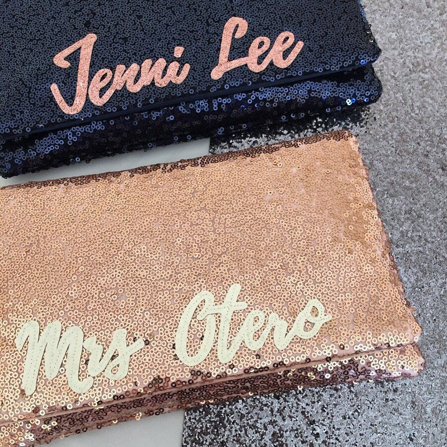 MRS Personalized initial rose gold sequin clutch purse