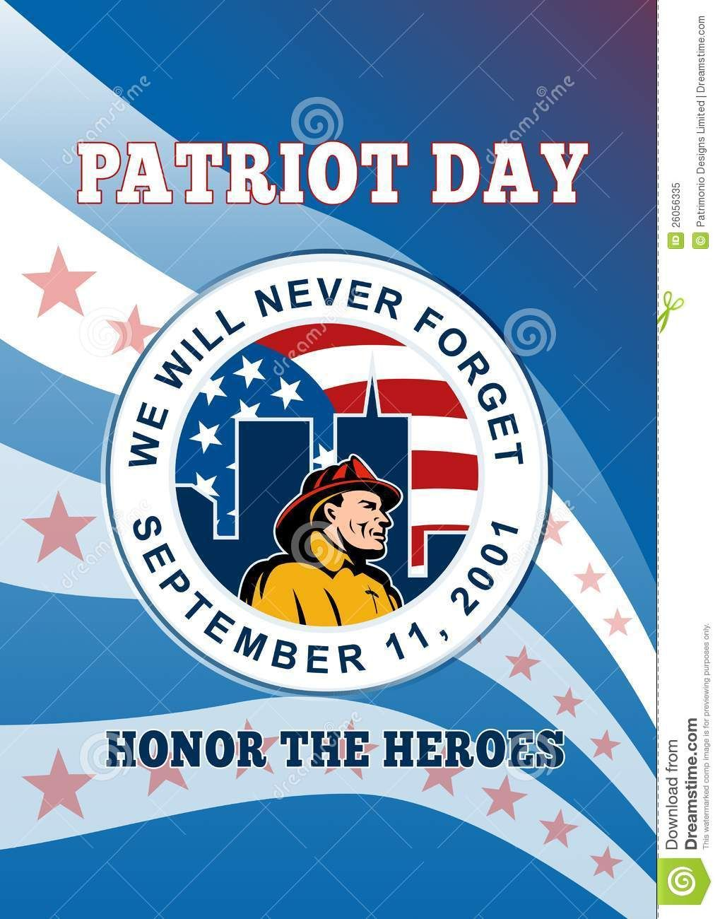 Patriot Day poster featuring a firefighter