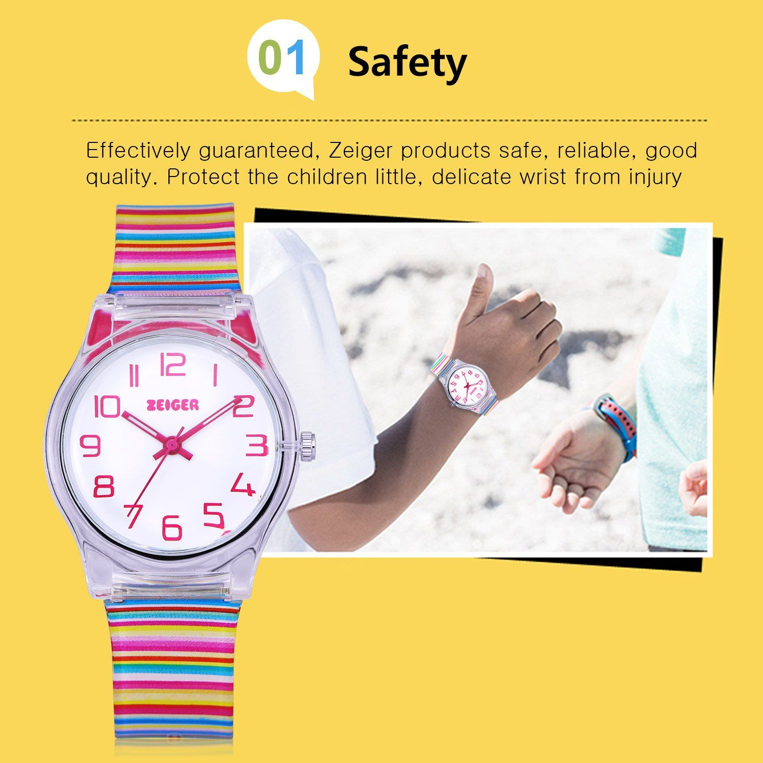 64ab03225 Zeiger Cool Display Easy Read Time Teacher Teen Young Girls Children Kids  Watches Resin BandColorful     You can find out more details at the link of  the ...