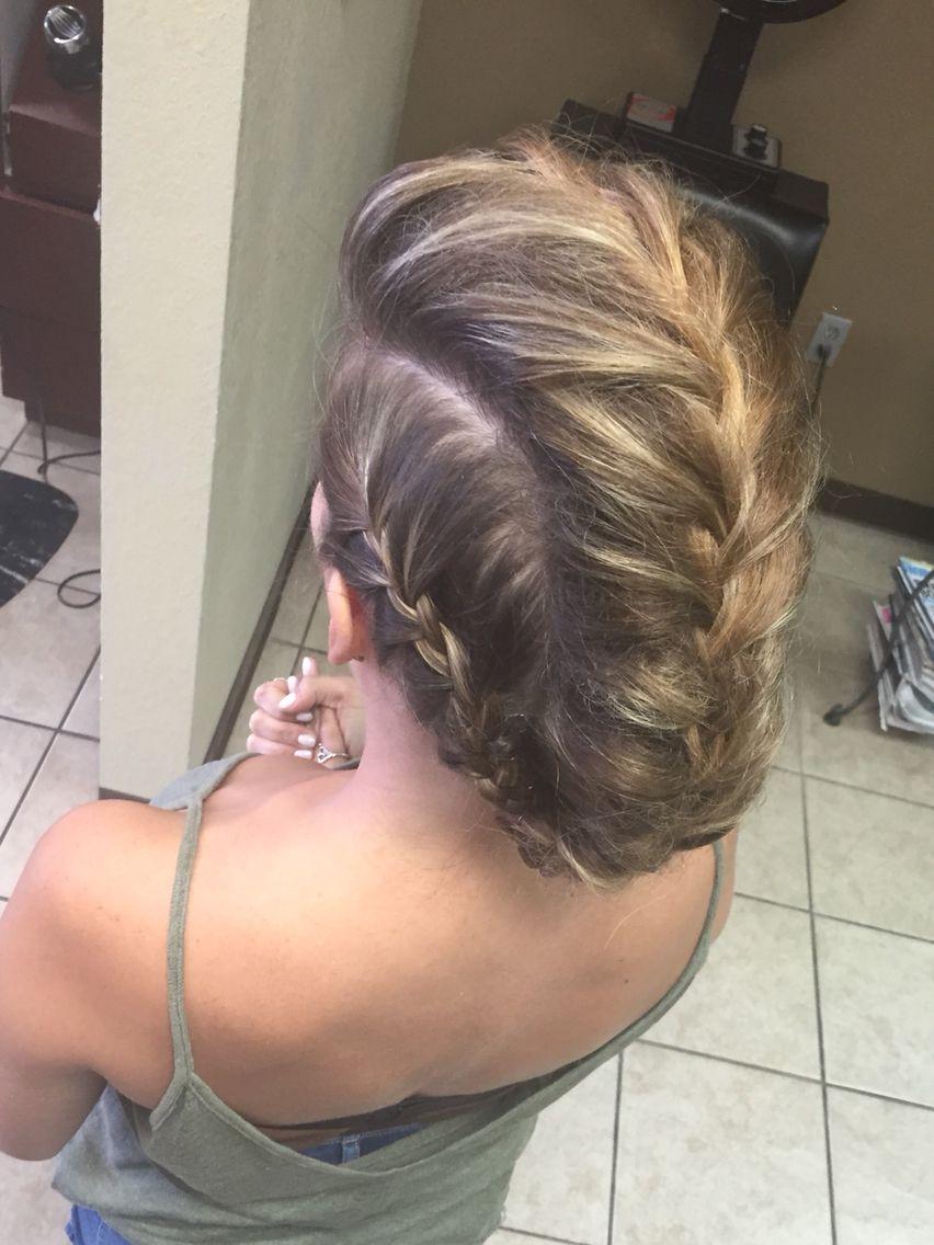 Faux hawk french braid updo medium length fine hair thin hair