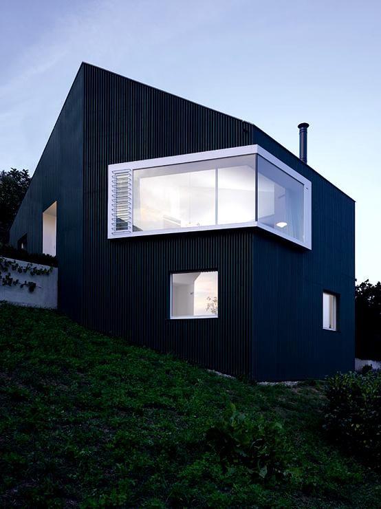 Single haus mit asymmetrischem dach dunkle holzfassade for Haus mit satteldach modern