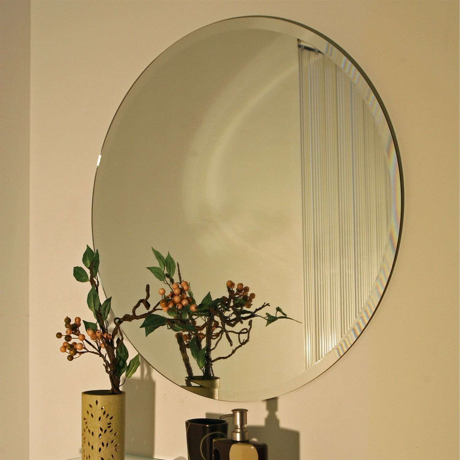 18 Inch Round Circular Vanity Wall Mirror With Bevel Edge
