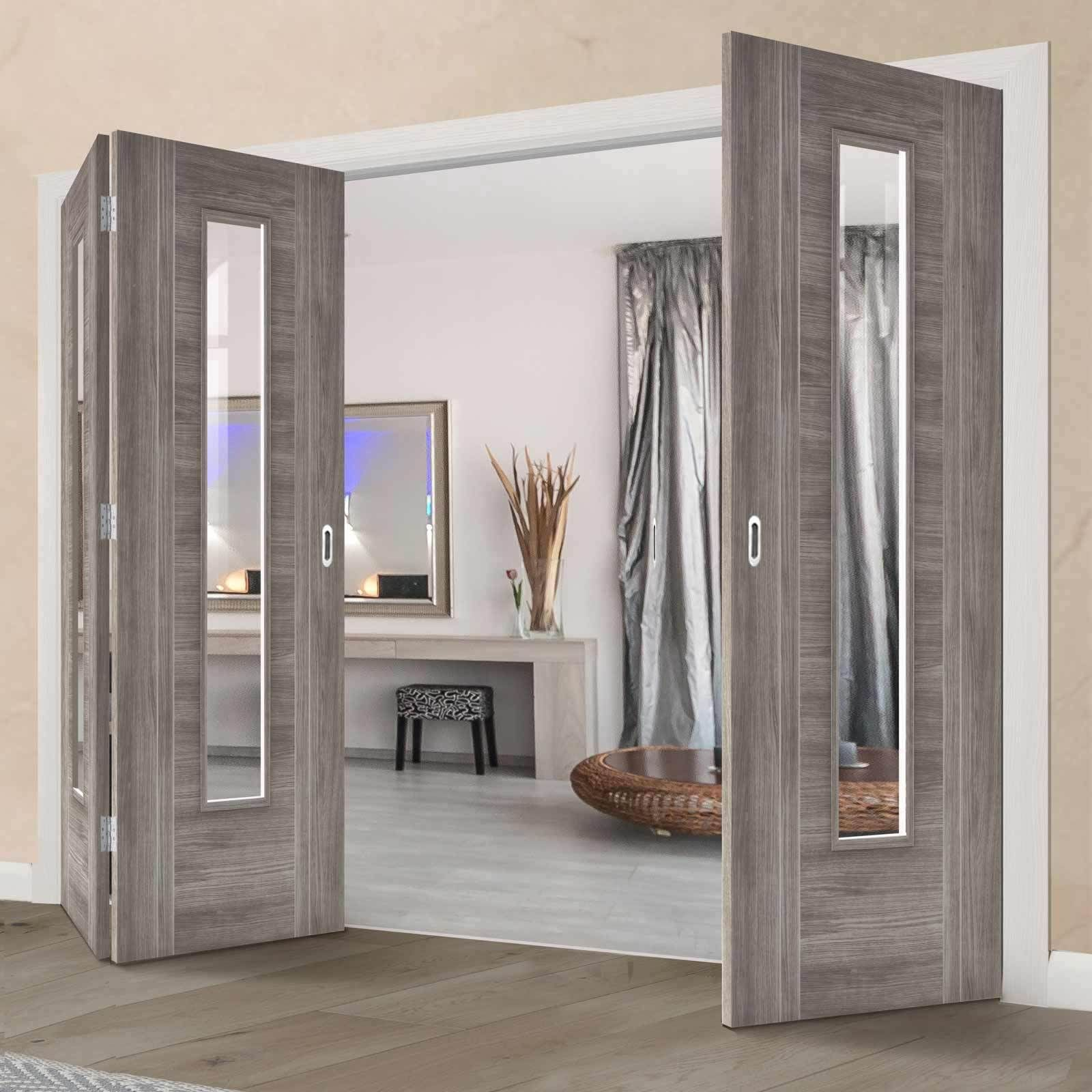 Thrufold Laminate Light Grey Ottawa 2 1 Folding Door Clear Glass Greydoors Bifold Decoracion De Interiores Puertas Interiores Puerta Interior