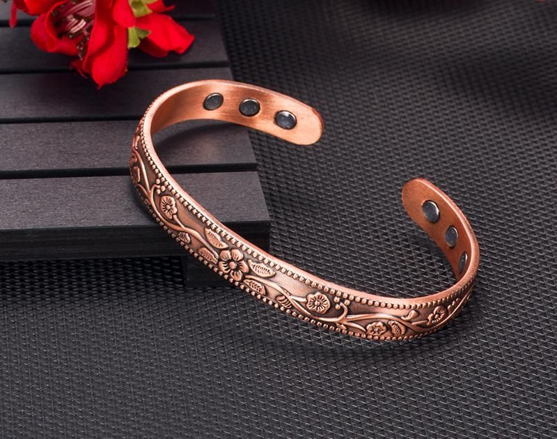 Vintage Flower Pattern Health Energy Magnetic Copper Balance Open Cuff Bracelet Bangles For Arthritis Healthy Sparkle