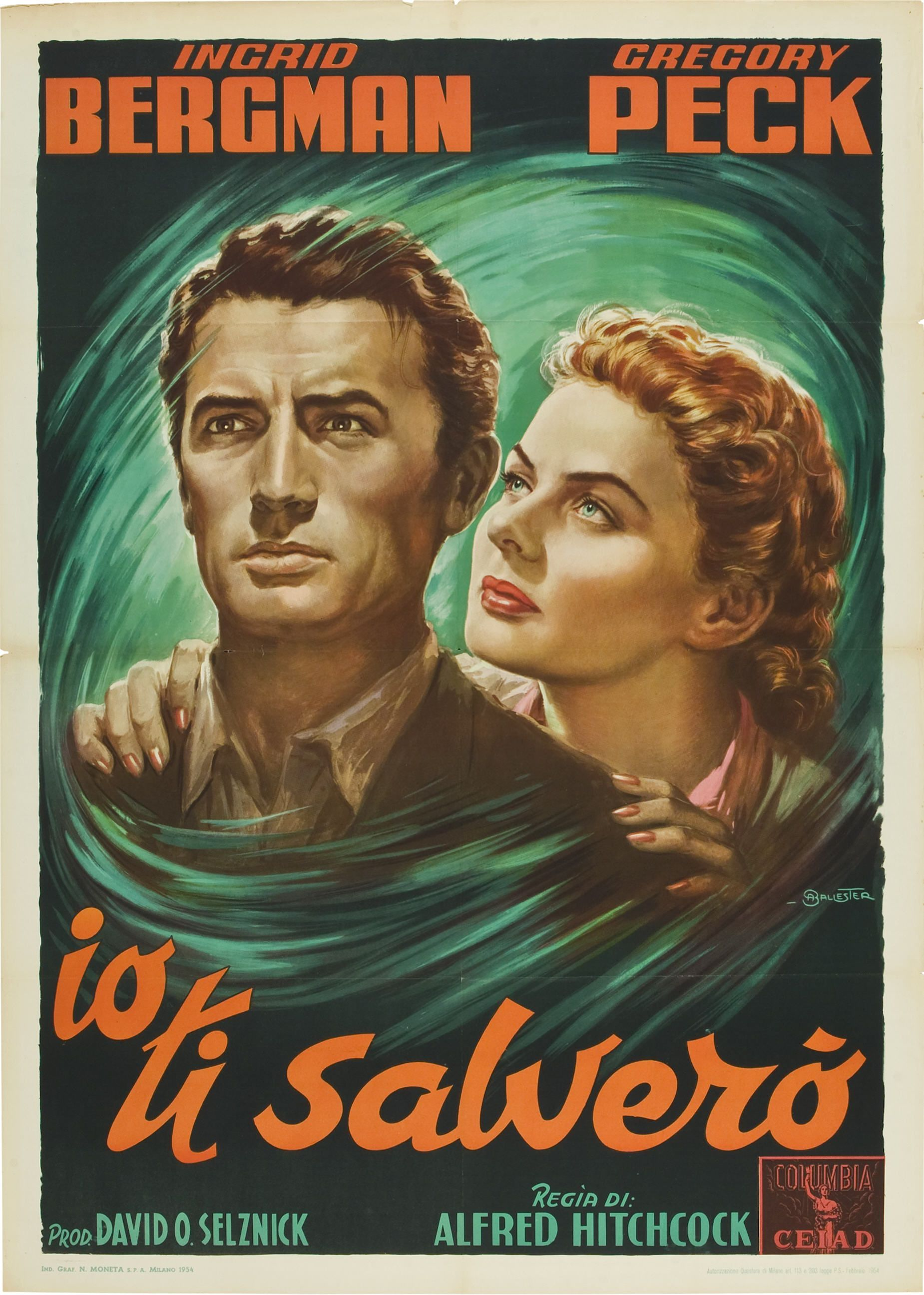 Ingrid Bergman & Gregory Peck - Spellbound (Alfred Hitchcock,1954) Italian  2-foglio design by Anselmo Ballester
