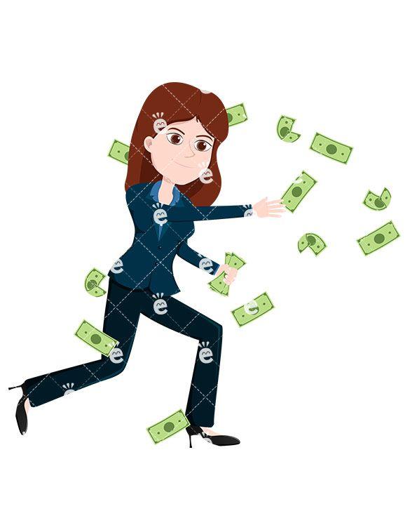 Woman Attempting To Catch Money Bills Flying Around Vector Friendlystock Money Bill Business Women Free Vector Illustration