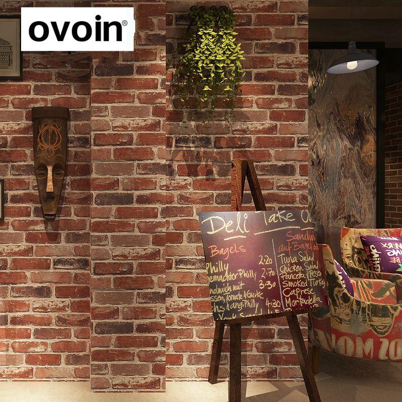 rustic vintage 3d faux brick wallpaper roll vinyl old stone wall paper for restaurant cafe decor - Black Cafe Decor