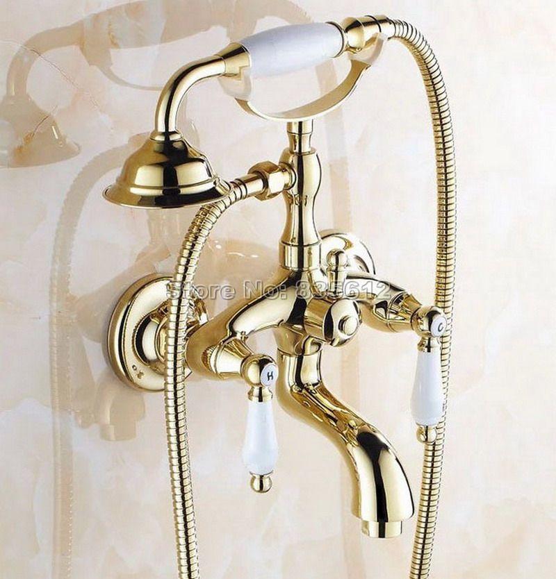 Bathroom Antique Copper Brass Bathtub Shower Set Wall Mounted 8 Rainfall Shower Mixer Tap Faucet 3 Functio Shower Mixer Taps Bathroom Fixtures Bathtub Shower