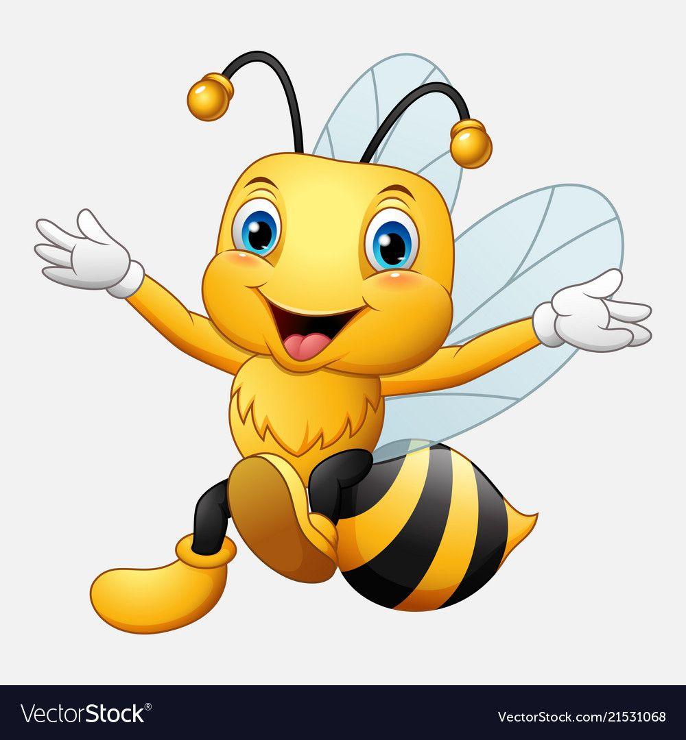 Cute Bee Cartoon Waving Hand Vector Image On Bienen Malvorlagen