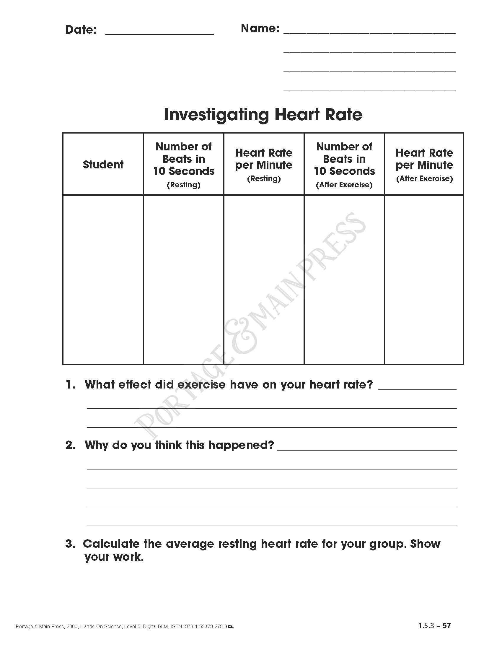 small resolution of Health Worksheets for 5th Grade Grade 5 Science Heart Rate Activity Sheet    Health education