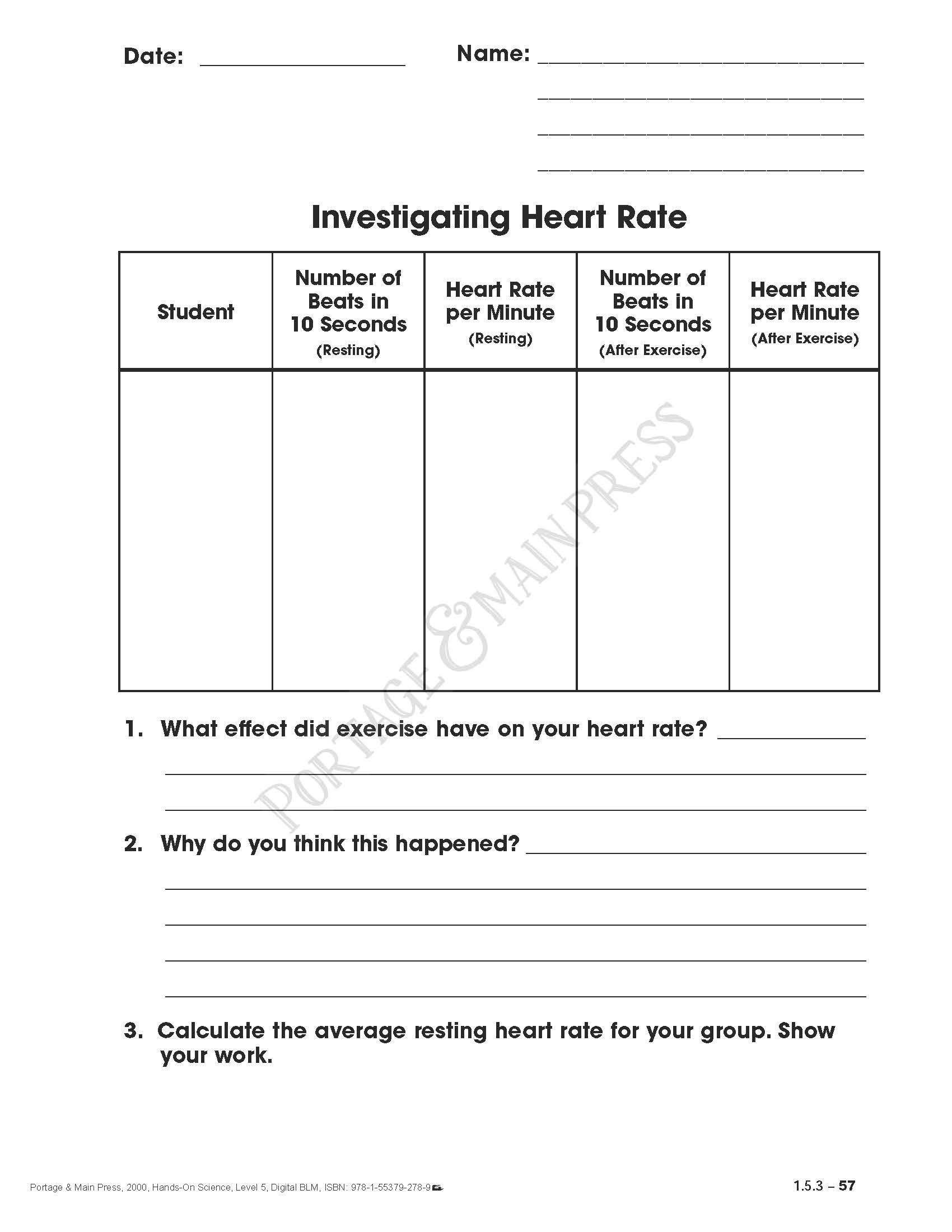 medium resolution of Health Worksheets for 5th Grade Grade 5 Science Heart Rate Activity Sheet    Health education