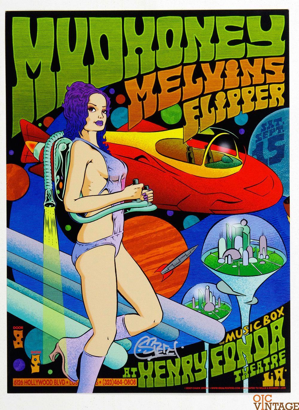 Melvins 2007 Sep 15 Henry Fonda Theatre Poster Chuck Sperry Signed