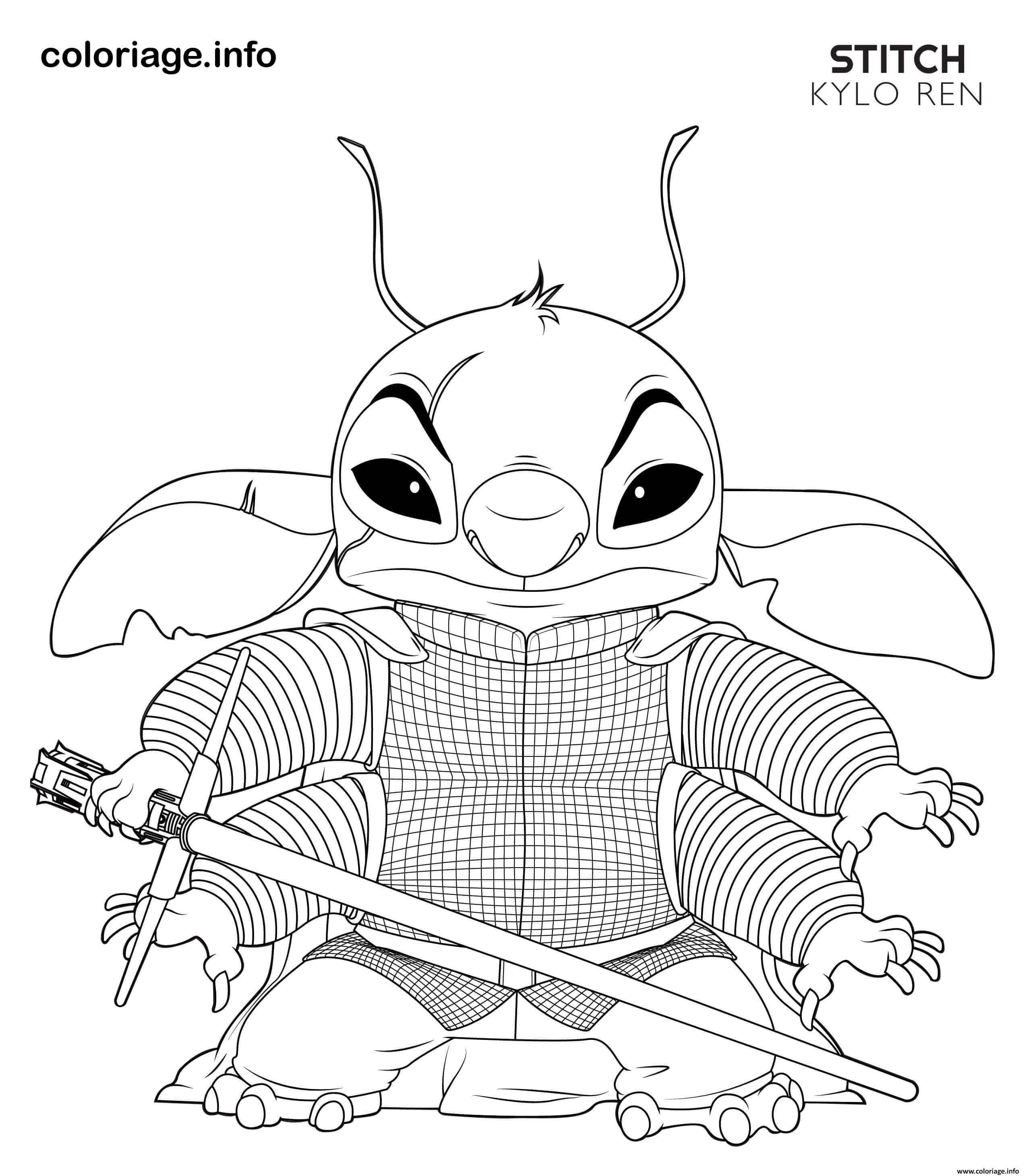 Coloriage kylo ren stitch disney star wars à imprimer en ...