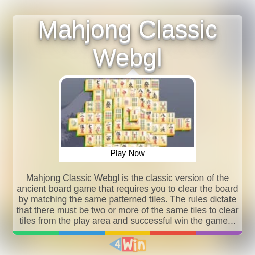Mahjong Classic Webgl Game Free Online Games in 2020