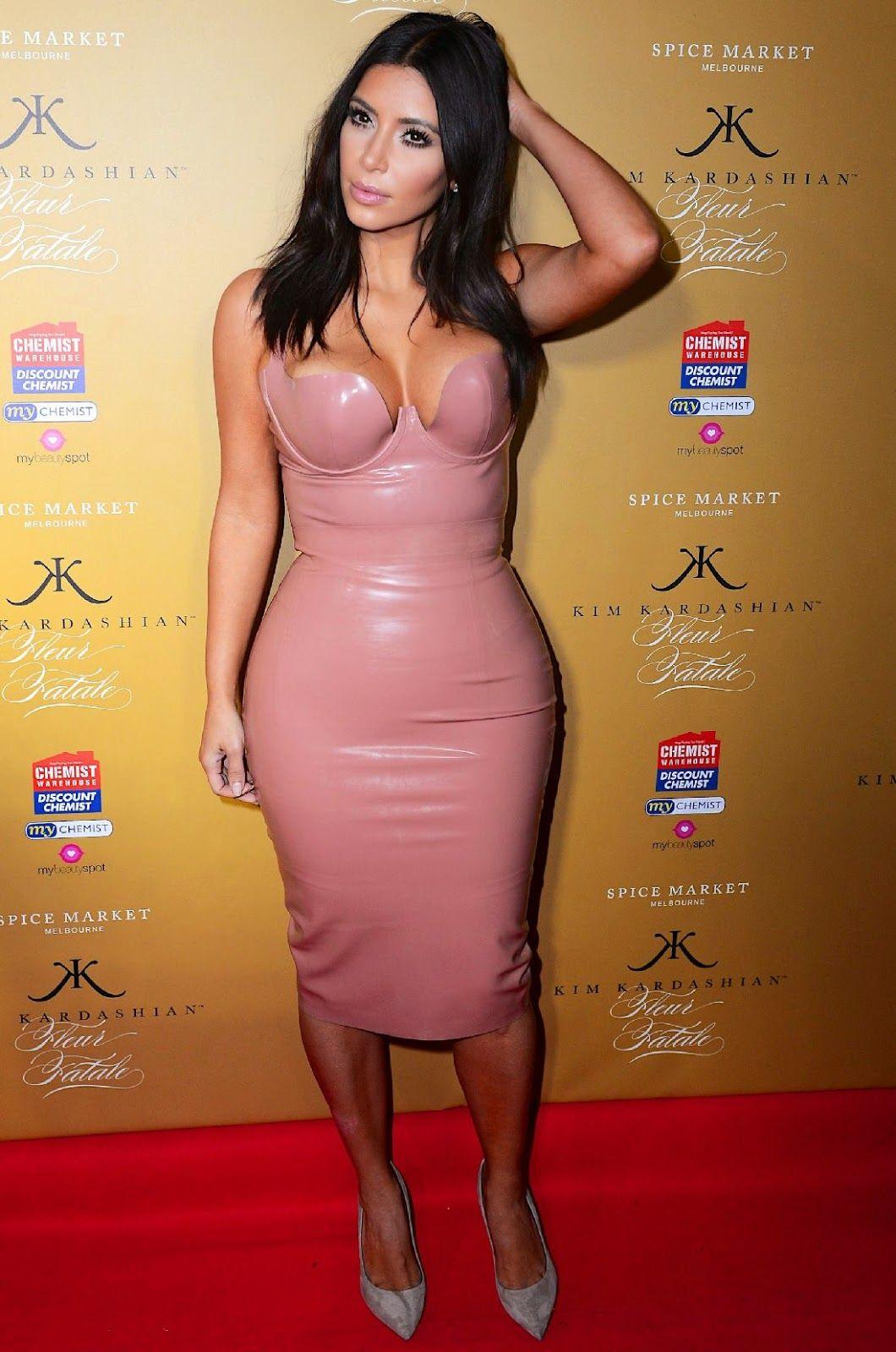Celebrities In Leather: Kim Kardashian wears a hot latex dress ...