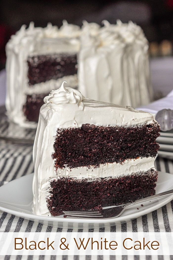Black and White Cake - with kid approved, marshmallow frosting too!