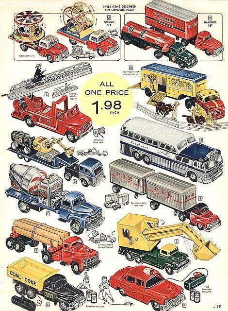 1957... trucks! Affiches rétro, Jouets vintage et Jouets