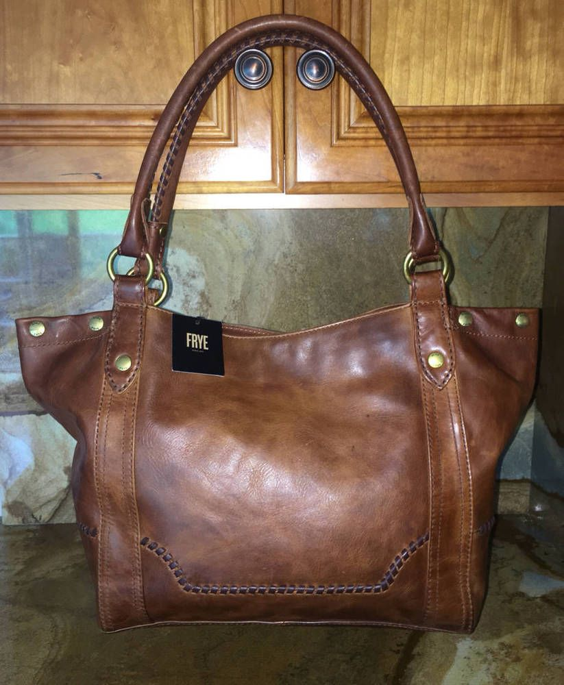 8ae33394f5 New~Frye Leather Melissa Distressed Whipstitch Shoulder Bag~Tote~Cognac  Brown
