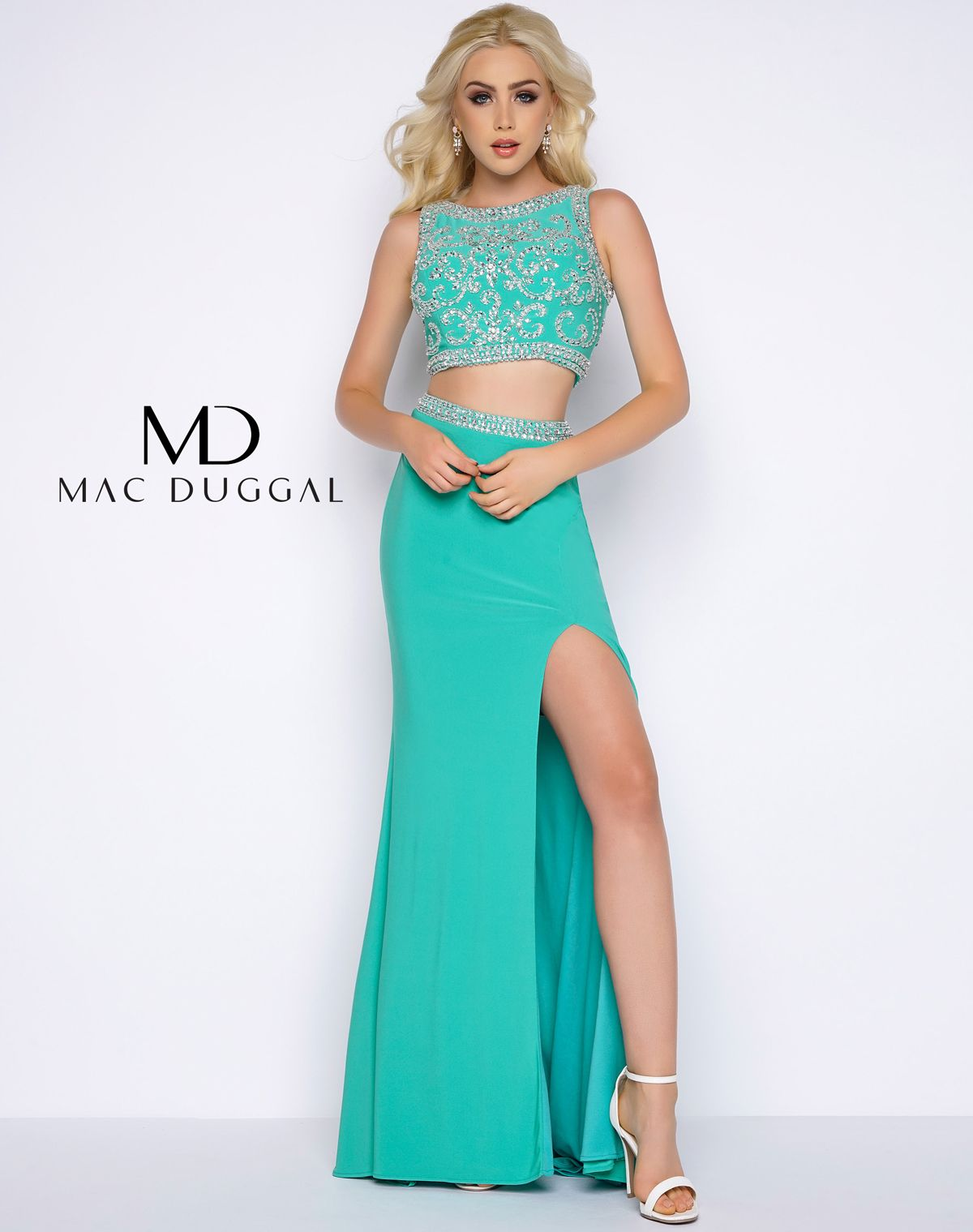Two piece, stretch jersey prom dress with fully beaded top and ...