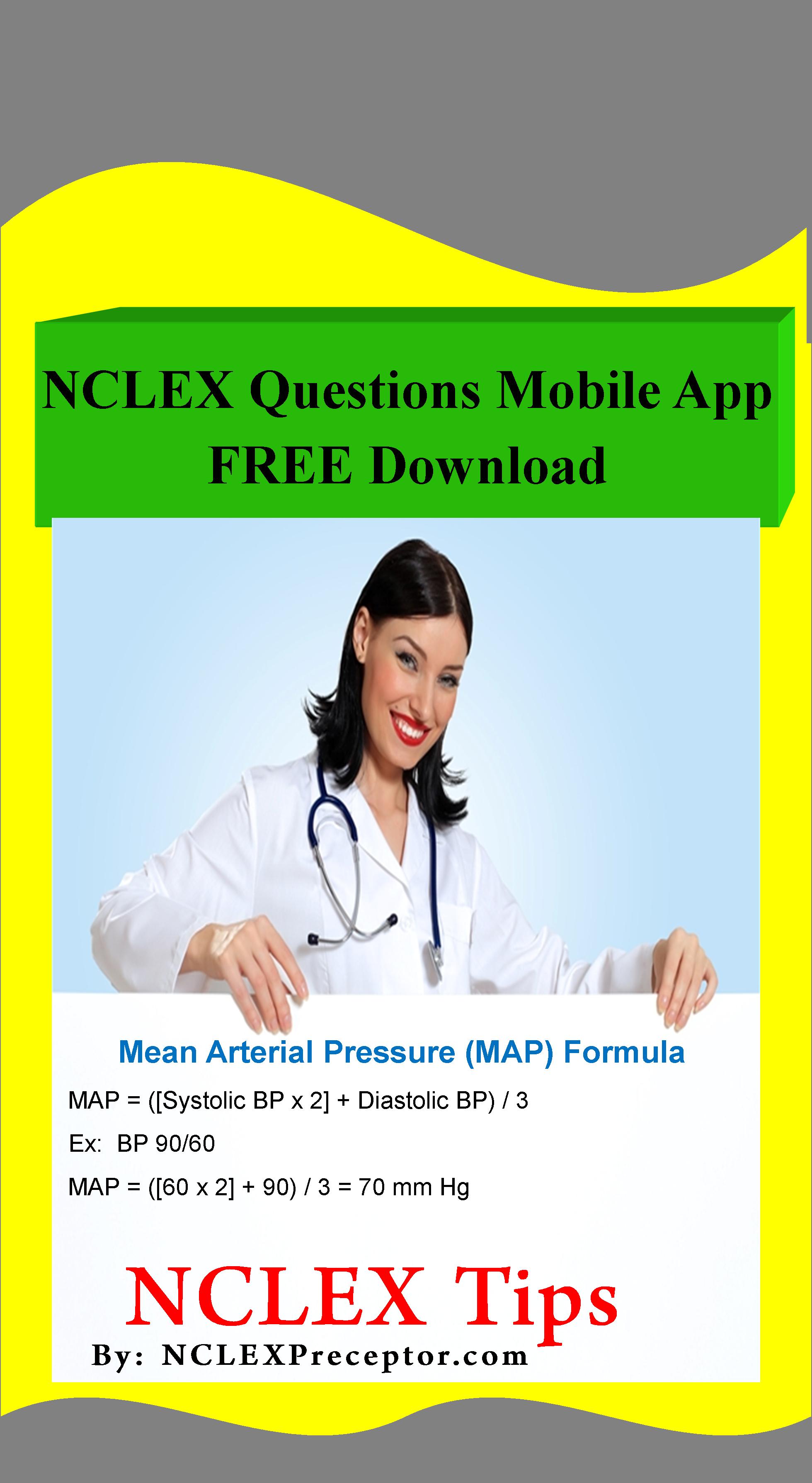 Calculate Mean Arterial Pressure Map Nclex Questions